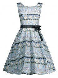 Geometric Print A Line Dress with Bowknot - LIGHT BLUE