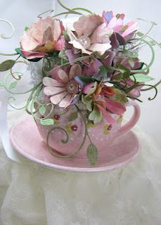 Tea cup of paper flowers