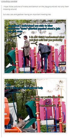 """""""I hope those pictures of Misha and Tahmoh on the playground are not only them messing around, but also Cas and Gadreel having an important meeting..."""" 