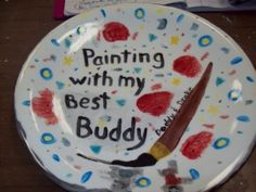 Sweet plate from a daddy/son outing at a pottery painting studio