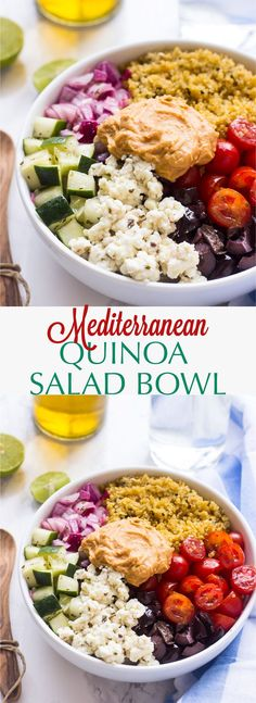 This Mediterranean Quinoa Salad Bowl is loaded with delicious and filling veggies, topped with creamy hummus and comes together in just 20 minutes!