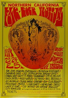 This poster from May of 1968 announced a three-day festival to be held at the Santa Clara fairgrounds in San Jose California. This event featured powerhouse performances by Jimi Hendrix and Led Zeppelin. Also in attendance were several legendary performers such as Chuck Berry, Muddy Waters and Doc Watson.