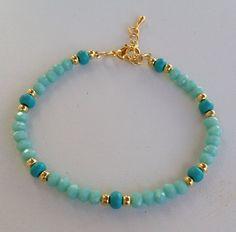 Turquoise crystal beaded bracelet pulseira de cristal turquesa