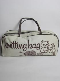 1970s RETRO CAT PRINT KNITTING BAG £15