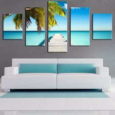5 Panel the-palm-pontoon Modern Home Wall Decor Canvas Picture Art Print WALL Painting Set of 5 Each Canvas Arts Unframe Multi Canvas Painting, Wall Canvas, Spray Painting, Canvas Art, Tree Canvas, Home Wall Decor, Diy Home Decor, Tree Wall Art, Home Pictures