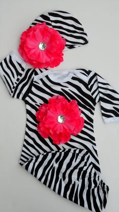 Baby Girl Clothes  Zebra Layette Gown Newborn Take by LilMamas, $35.90