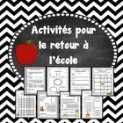 Ce document de 27 pages comprend toute une variété d'activités à faire avec vos élèves pour la rentrée scolaire!  Cela vous permettra d'occuper vos...