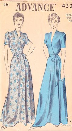 "1940s Misses Housecoat or Robe Vintage Sewing Pattern, Advance 4331 bust 30"" on Etsy, $28.00. jwt"