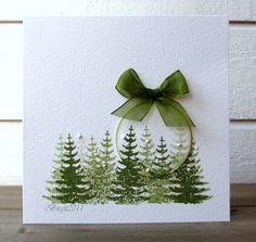 Beautiful pine tree card from Less is More blog.