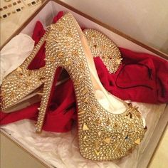 Gold Studded High Heels. Luxury.