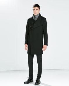 BLACK FUNNEL COLLAR COAT from Zara
