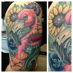 Flamingo and Flowers Color Tattoo by Pat Bennett @Absolute Ink