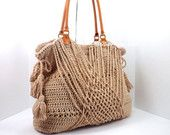 ON SALE Crochet Bohemian Style Handbag /JUTE/, Crochet Boho Tote Bag, Shopper Bag, Beach Bag, Gift Idea