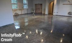 CARRcrete InfinityFloor Cream polished concrete flooring is a smooth cloudy looking concrete surface with no visible aggregate