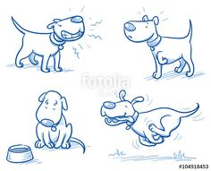 """Laden Sie den lizenzfreien Vektor """"Cute cartoon dog set. Snarling, running, alert, hungry. Hand drawn doodle vector illustration."""" von danielabarreto zum günstigen Preis auf Fotolia.com herunter. Stöbern Sie in unserer Bilddatenbank und finden Sie schnell das perfekte Stockbild für Ihr Marketing-Projekt!"""