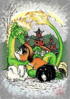 Fanciful Pekingese illustration