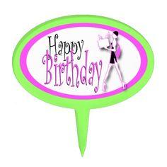 Pink green girls birthday fashion cake topper