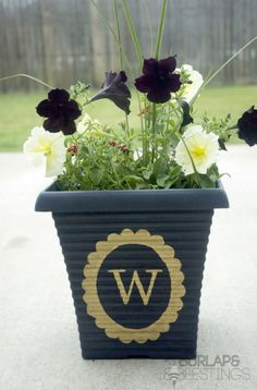Quick and Easy Gold Leaf Monogrammed Flower Pot http://burlapandbeestings.com/2013/06/01/easy-gold-leaf-monogrammed-flower-pot/