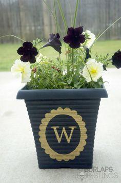 Quick and Easy Gold Leaf Monogrammed Flower Pot http://burlapandbeestings.com/2013/06/01/easy-gold-leaf-monogrammed-flower-pot/