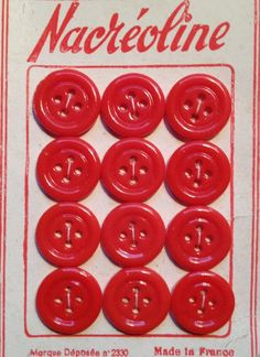 VIntage red glass buttons from France.