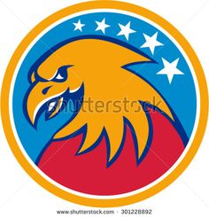 Illustration of an American bald eagle head viewed from the side set inside circle with stars in the background done in retro style. #eagle #retro #illustration