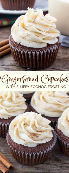 Treat yourself with these Gingerbread Cupcakes full of warm spices and molasses, and topped with fluffy Eggnog Frosting. Just the sweet treat you need to get into the holiday spirit!