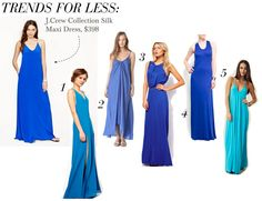 Love J.Crew Collections cobalt silk maxi dress but cant afford the nearly $400 price tag? Try one of these instead: Jarlo V-Neck Maxi Dress, $133 ONE by Pink Stitch Resort Maxi, $84 Oasis Maxi Dress, $83.13 Mango Outlet Scoopneck Maxi, $29.99 (from $60) Blu Moon Pharoah Maxi Dress, $145