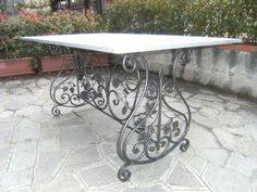 Wrought iron table rectangle scrolls and grape by COLPIDIMARTELLO