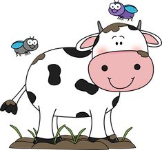 Cute Cow Clip Art | Cow in the Mud with Flies Clip Art Image - cow standing in and covered ...
