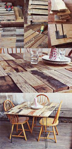 Mesa con tablas y pies hairpin - abeautifulmess.com