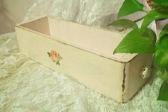 pastel light pink vintage sewing drawer wooden by PrincessPeony, $15.00