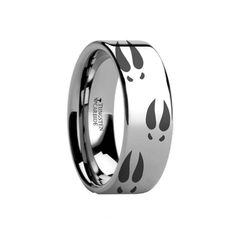 Thorsten Animal Horse Head Equestrian Ring Custom Flat Tungsten 12mm Wide Wedding Band from Roy Rose Jewelry