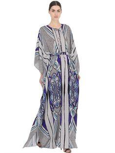 LARUSMIANI FLORAL PRINTED SILK CAFTAN DRESS, BLUE. #larusmiani #cloth #dresses