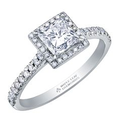 Canadian Square Princess Cut Diamond with a Diamond Halo and Diamond Pave Shank Canadian Diamonds, Princess Cut Diamonds, Halo Diamond, Shank, Diamond Engagement Rings, Beautiful, Collection, Jewelry, Jewlery