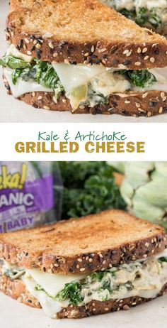 Kale & Artichoke Grilled Cheese: When kale meets artichokes and a dip turns into a sandwich, magic happens. Try this Kale & Artichoke Grilled Cheese made with Swiss and parmesan on eureka! Sweet Baby Grains Organic Bread.