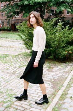Love the skirt/shoe/sock combo