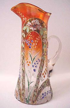 Northwood's Enameled Victorian Gardens tankard.  Take note of the wonderful enamel decorated arches.  Fantastic piece, only one known.  #artglassserendipity