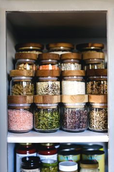 A Pantry Organization Makeover inspiration. all matching jars, no more labels.