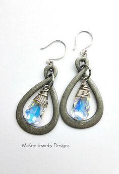 Teardrop Silver pewter, gunmetal grey teardrop hoops, antiqued sterling silver wire wrapped and AB clear crystal earrings. McKee Jewelry Designs