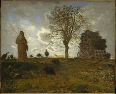 Jean-François Millet (Fr. 1814-1875), Autumn Landscape with a Flock of Turkeys, 1872-73, 31 7/8″ x 39″, oil on canvas, MET, New York