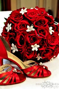 red wedding bouquet and shoes