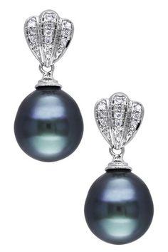10K White Gold 9-9.5mm Black Tahitian Pearl & Diamond Drop Earrings