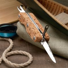 Wide Grip Cork-Handled Knife THE 1-1/4 THICK CORK HANDLE GUARANTEES IT WILL NEVER SINK OUT-OF-SIGHT""