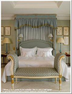 Beautiful bedroom. Love the drape behind the bed = creates coziness