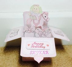 Pretty in Pink Pop Up Box Card by TheBlenheimCardCo on Etsy