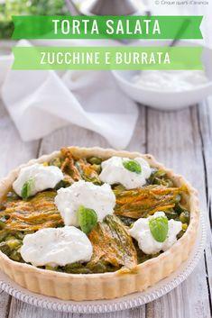 TORTA SALATA ZUCCHINE E BURRATA, un'idea gustosa perfetta per dare il benvenuto alla bella stagione! #zucchine #burrata #italy Camembert Cheese, Picnic, Dairy, Bella, Food, Salads, Essen, Picnics, Meals