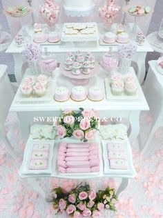Pretty pink and white shabby chic birthday party! See more party ideas at CatchMyParty.com!