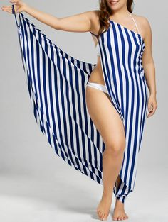 b483cf354f209 Plus Size Vertical Striped Cover Up Maxi Dress