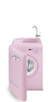 LOVE LOVE LOVE  Smeg 50's Style  PINK!!!!!  FREE-STANDING WASHING MACHINE WITH SINK    A unique appliance: a sink and washing machine combined together    Energy Rating: AAA    Features:    Sink with left hand drainer  2 shells on inside door  Load capacity 5 kg  Variable spin speed from 600 up to 1600 rpm  15 washing programmes  Total Aquastop  Display  Delay timer 1-24h  No spin option