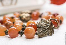 """Купить """"Осенний поцелуй"""" бусы из натуральных камней, агат - рыжий, оранжевый, персиковый, бусы"""